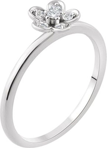 14K White 1/10 CTW Diamond Flower Youth Ring in 14k White Gold - Size 7 by Bonyak Jewelry