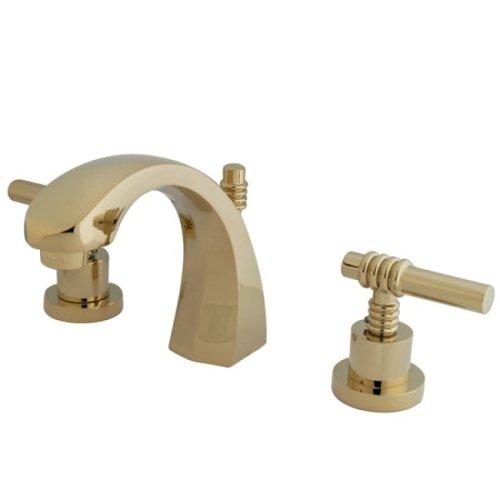 Kingston Brass KS4982ML Milano 8-Inch Widespread Lavatory Faucet, Polished Brass