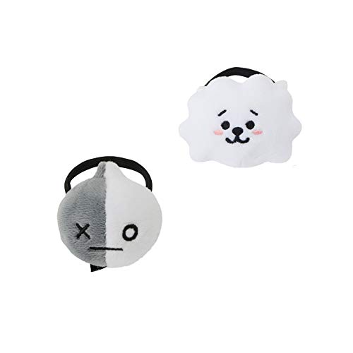 eKoi Elastic Nonslip No Crease BTS Hair Ties Headband Soft Plush Head Wear Accessories Set for Bangtan Boys Army Kpop Girls Collectables (RJ Van 2 PC Pack)