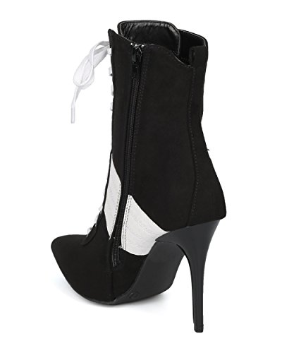 Alrisco Women Pointy Toe Sports Stripe Lace Up Stiletto Bootie - HF17 by Wild Diva Collection Black Faux Suede mYlJvJjsl