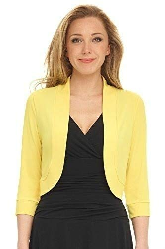 LiChY Womens Curvy Fit Plus Size Rounded Hem Stretch Bolero Shrugs Yellow XXL