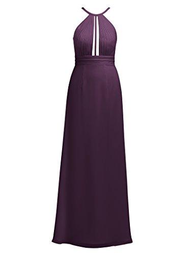 Party Dress Long Alicepub Evening Formal Grape Event Chiffon Dress Halter Maxi Pleated 06q6z1H