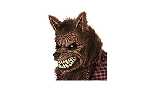 (California Costumes Men's Werewolf Ani-Motion Mask Lycan Horror, Brown, One)