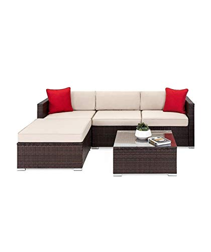 OAKVILLE FURNITURE 61105 5-Piece Outdoor Patio Furniture Rattan Sectional Sofa Conversation Set Brown Wicker, Beige Cushion (Outdoor Imported Furniture)