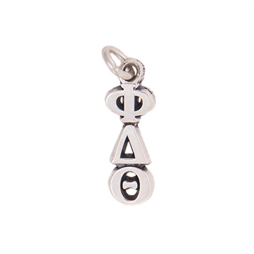 Phi Delta Theta Fraternity Letter Sterling Silver or 14k Gold Lavalier Necklace with Chain (Silver)