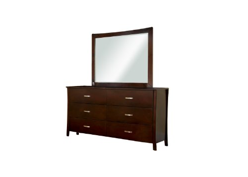 Furniture of America Bex 2-Piece Dresser and Mirror Set, Brown Cherry Finish