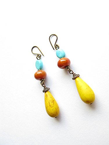 Yellow Bead Dangle Earrings Orange Fire Agate Stone Turquoise Blue Semi Precious Gemstones