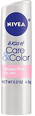 NIVEA Lip Care A Kiss of Care & Color, Sheer Pink 0.17 oz