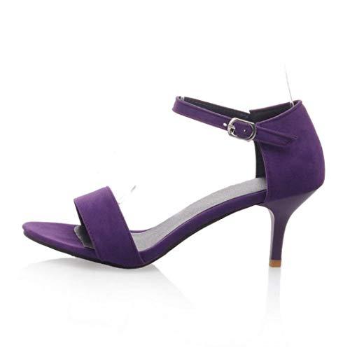 - Women's High Heels Ankle Strap Open Toe Suede Elegant Classic Dress Office Dance Mid Kitten Heel Pumps Purple