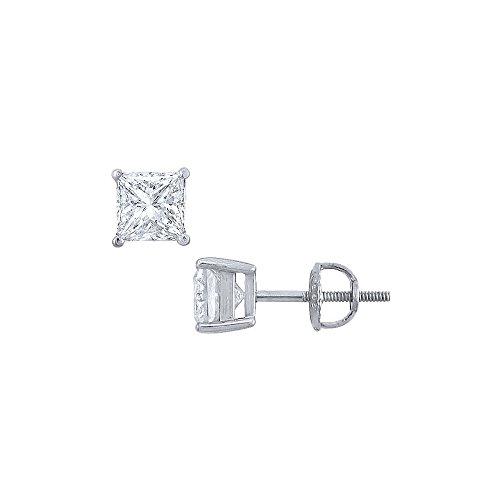 Platinum Princess Cut Diamond Stud Earrings 2.00 CT. TW. ()