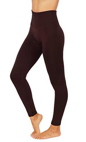 Fit Division Women`s Pants Buttery Soft Fleece Leggings High Waist Winter Thermal (S/M (one Size) US 2-8, FD538-COF)