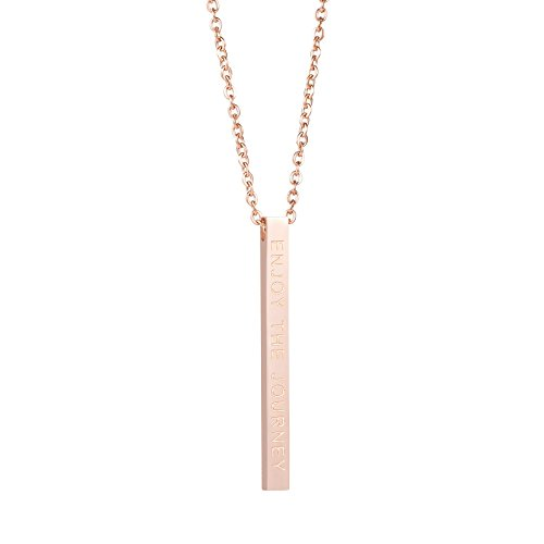 - Graduation Jewelry for Teen Girls Vertical Bar Necklace Handmade Engraved Enjoy the Journey