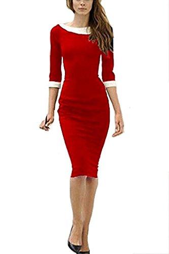 Vestido Longitud Del Minetom De De Rojo Mangas La Coctail Vestido Vestido 4 Lápiz Bodycon Rodilla Mujer 3 wII6xqFrO