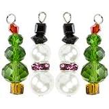 Bulk Buy: Cousin Beads (3-Pack) Tis The Season Metal Charms Green & White Trees & Snowmen 4/Pkg TTS3MC-2066