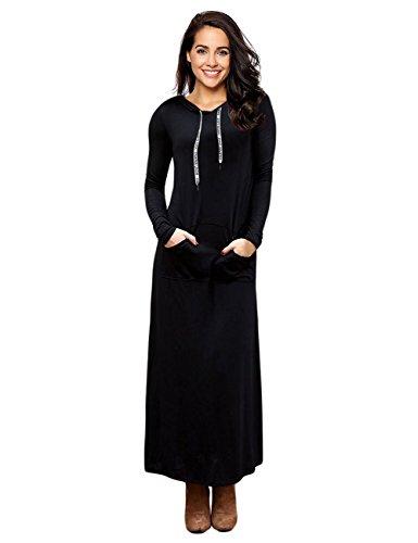 GloryStar Women Long Sleeve Pullover Pocket Slim Sweatshirt Casual Hoodie Dress Hooded Sweater Dresses Black XL
