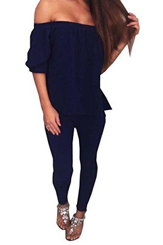los o Bardot Flying Traje celebridad Negro Set Azul 8 en las inspirado marino de Vestido para Tama aparentes mujeres hombros 16 ZwCq0n1