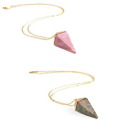 Quadrangular Pyramid Cone Pendant Gold Reiki Healing Crystal Gemstone Necklace for Women(Set of 2) (Rhodochrosite Pendant Set)