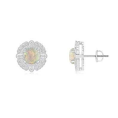 Angara Round Opal Compass Earrings with Diamond Double Halo zNRPyu4