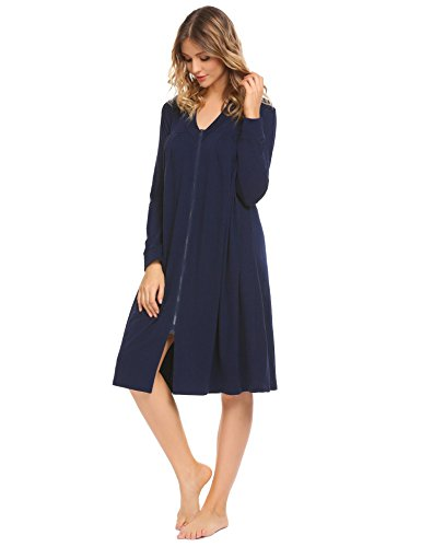 V-neck Duster (Acecor Women V-Neck Zipper Long Sleeve Loose Nightwear Retro Duster Housecoat)