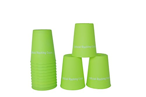 """Large 3.5"""" x 4.4"""" Tall Quick Stack Cups - Speed Training Sports Stacking Cups - Set of 12 By Trademark Innovations (Green)"""