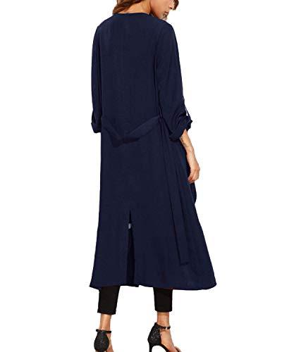 Larga Gabardinas Mujer Moda Manga Retro Otoño Chaqueta Casual Outerwear Abiertas Sólidos Colores Joven Largos Parka Marine Con Cinturón rXzXUqg