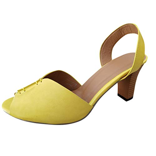 Women's Ankle Elegant Square Heel Peep Toe Sandals Ladies Stylish Casual Solid Color Roman Shoes Slip-Ons Party Dress Gladiator Sandals US: 5.5-9 (Yellow, US:5.5-9.1