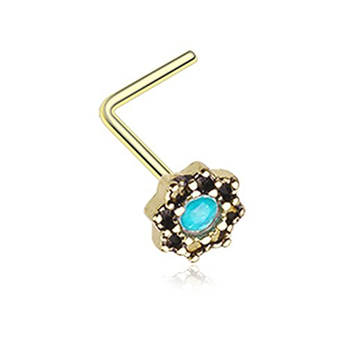 20G Lotus Synthetic Opal Sparkle Filigree Icon L-Shaped Nose Ring (Gold)