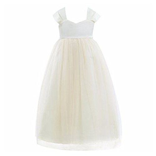 - FEESHOW Tulle Flower Girl Dress Empire Waist Princess Wedding Bridesmaid Party Dance Gown Cream 6