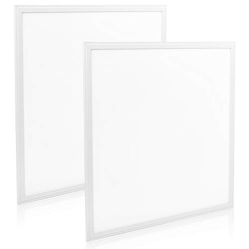 (Luxrite 2x2 LED Panel Light, 40W, 5000K Bright White, 4000 Lumens, 0-10V Dimmable Edge-Lit Drop Ceiling Light, 100-277V, Damp Rated, DLC and UL Listed (2-Pack))