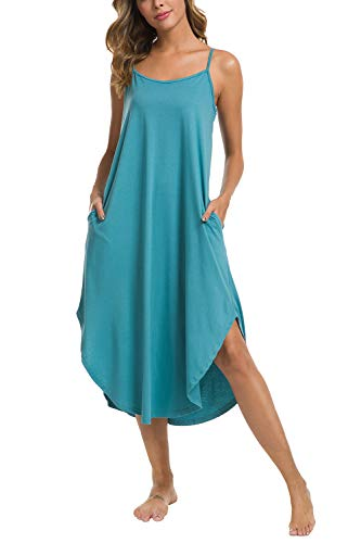 - AVIIER Sleepwear Women's Knit Nightgown V Neck Sleeveless Sleep Shirt (XL, Lake Blue) ...