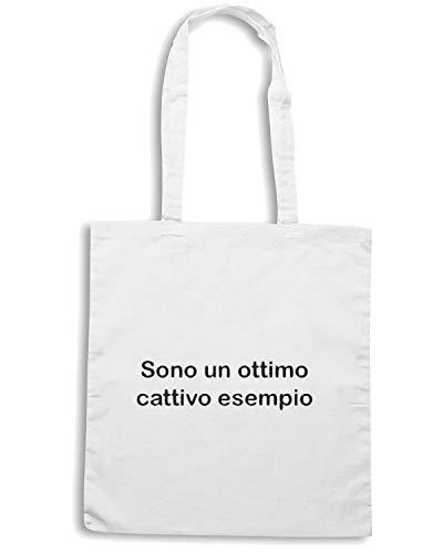 Speed Shirt Borsa Shopper Bianca TDM00266 SONO UN OTTIMO CATTIVO ESEMPIO