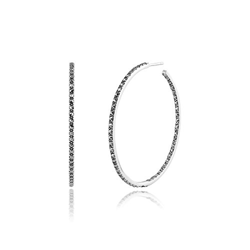 - Large Hoop Earrings in 925 Sterling Silver & Marcasite Lined Front & Back