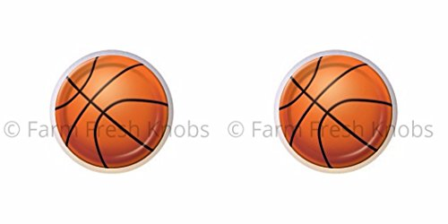 SET OF 2 KNOBS - Basketball - Sports and Recreation - DECORATIVE Glossy CERAMIC Cupboard Cabinet PULLS Dresser Drawer (Basketball Drawer)