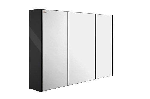 VALENZUELA Dune 32 Inch Medicine Cabinet Bathroom Vanity Mirror, Wall Mount, 3 Doors, Black Finish (VET0080002) by DAX