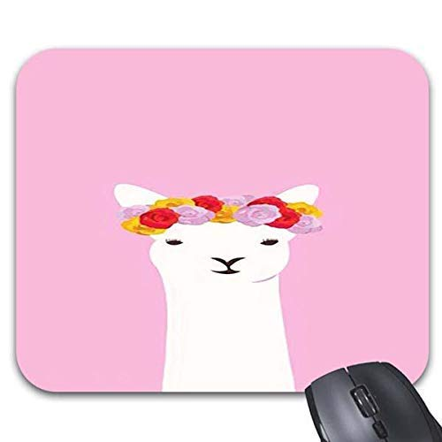 Roonyete Shop A Sheep Head Wear Flowers Mouse Pads 9.86 x 7.68inch