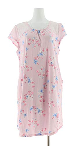 (Carole Hochman Dream Floral Cotton Jersey Sleepshirt Pink L New A302167)
