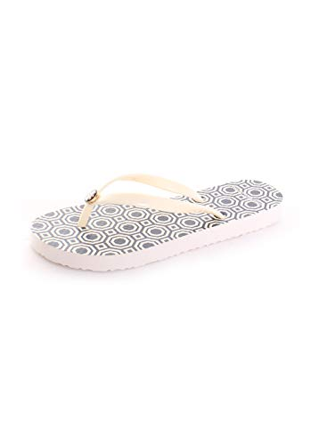 Tory Burch Printed Thin Flip Flops, Perfect Ivory/Octagon Sq