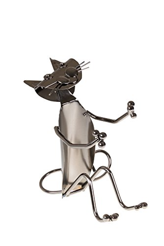 Premium Cat Shaped Metal Wine Bottle Holder by Clever Creations | Decorative Stainless Steel Design Fits Any Standard Wine Bottle | Wine Accessory Perfect for Kitchen Decorations