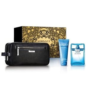 Versace Eau Fraiche for Men Gift Set 3.4 oz EDT Spray + 3.4 oz Shower Gel + Black Trousse