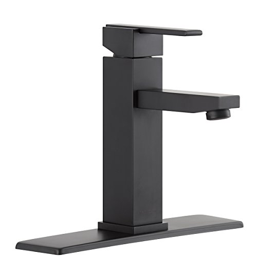 RBROHANT Single Handle Bathroom Faucet For Single Hole or Three Hole Brass Basin Mixer Taps With Cover Plate Matte Black (BF65001BP) (Matte Black)
