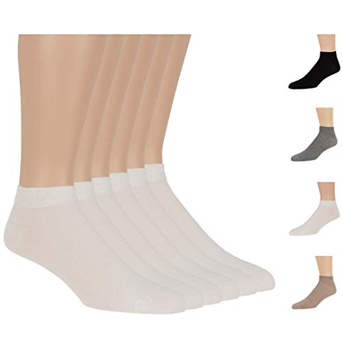 7BigStars Men Women Bamboo Black Ankle Low Cut 6 Pack Breathable No Sting Dress Casual Healthy Seamless Socks ((M) Shoe Size: 5-10 (Sock Size: 9-11), ()
