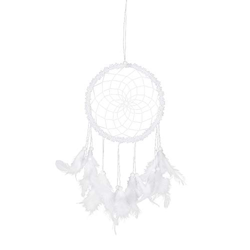 Dream Catcher Handmade Feather Beaded Tassel Circular Lace Dreamcatcher Wall Hanging Home Decoration Hanging Ornament Gift Caught Dreams (WHITE)