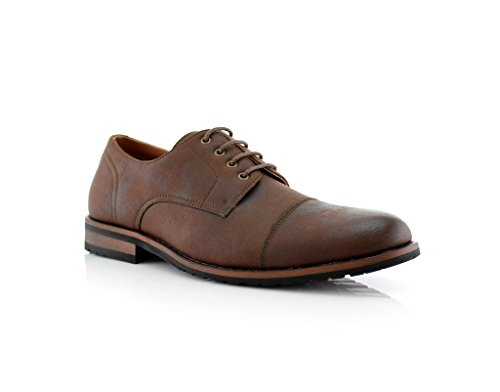 New Mens Cap Toe Casual Dress Lace Up Oxfords Shoes Brown rxcXyI