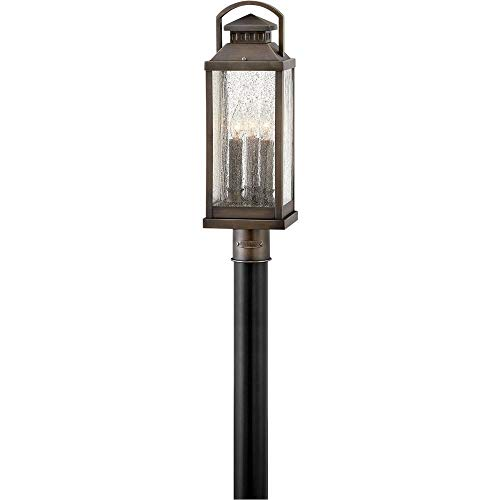 (Hinkley 1181BLB Revere - Three Light Outdoor Medium Post Top/Pier Lantern, Blackened Brass Finish with Clear Seedy)
