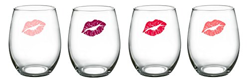 Luminarc Girlfriends Stemless Wine Glasses (Set of 4), 15 oz (Set Wine Decorated Glass)