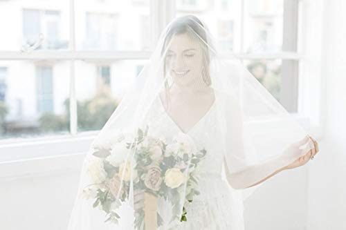 (Cathedral Veil with Blusher, Drop Wedding Veil, By Over the Moon Bridal)