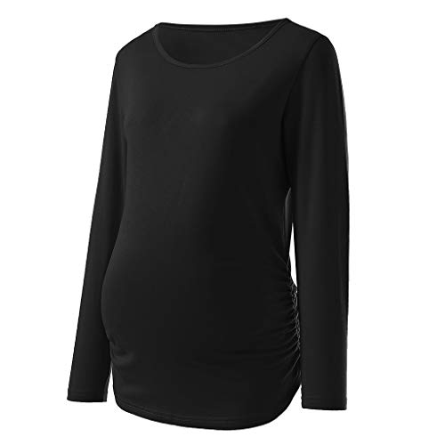 (Maternity Clothes,Lollyeca Womens Solid Long Sleeve Round Neck Bottom Shirt Top (Black, XX-Large))