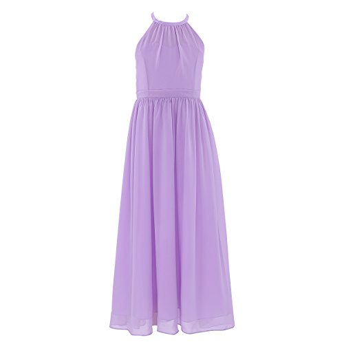 (iEFiEL Kids Girl Wedding Bridesmaid Chiffon Flower Dress Junior Prom Pageant Party Ceremony Dance Ball Gown Lavender 4)