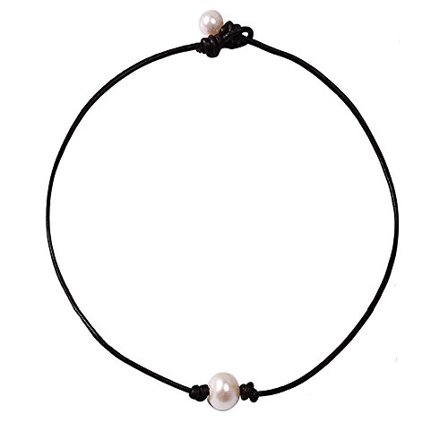 Bodai Freshwater Pearl Leather Choker Necklace for Women Handmade Jewelry (Necklace Womens Freshwater Pearl)