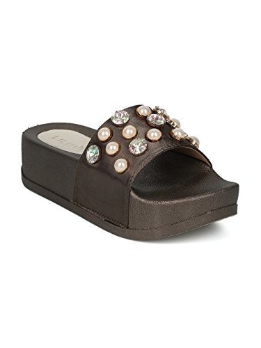 (Alrisco Women Satin Faux Pearl and Gems Platform Footbed Slide HG26 - Olive Satin (Size: 8.0))